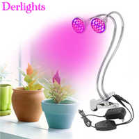 Dual Head Full Specturm Led Grow Light 60W Desk Clip Lamp with 360 Degree Flexible LED Plant Lamp For Indoor Plant Growth