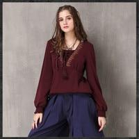 Ethnic Style Retro Embroidery Cotton T shirt Women 2018 New Bandage V Neck Lantern Sleeve T Shirt Wine Red Vintage Tee Tops