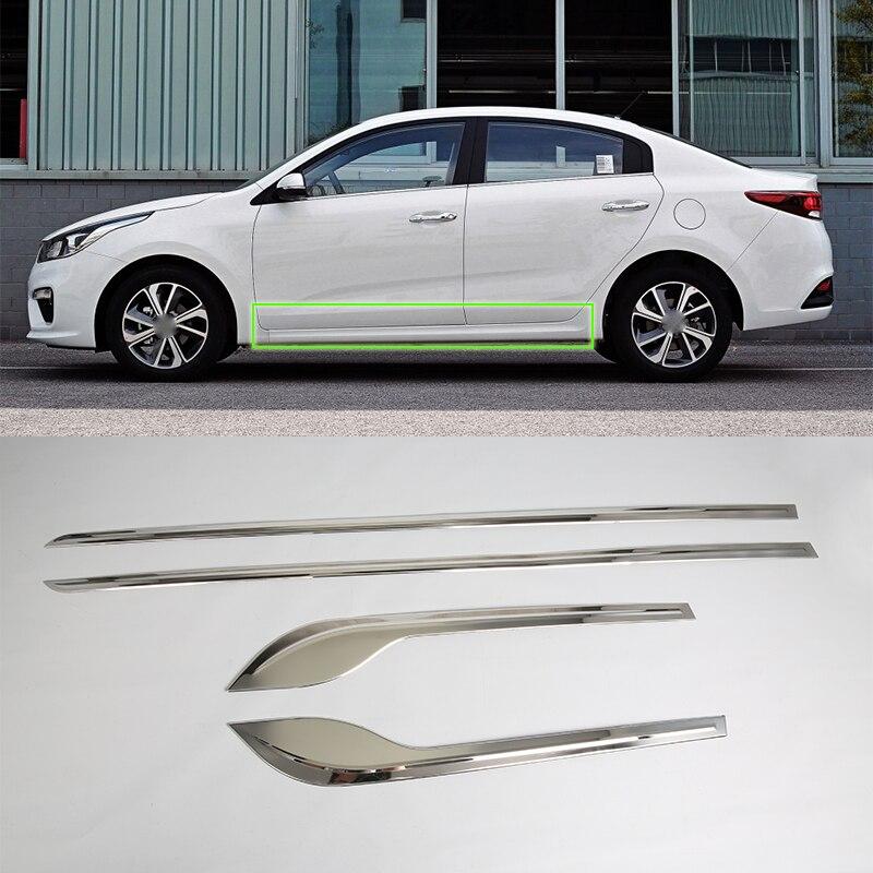 Accessoires de voiture extérieur en acier inoxydable porte latérale bande de moulage de carrosserie garniture de couverture pour Kia K2/Rio 2017 style de voiture
