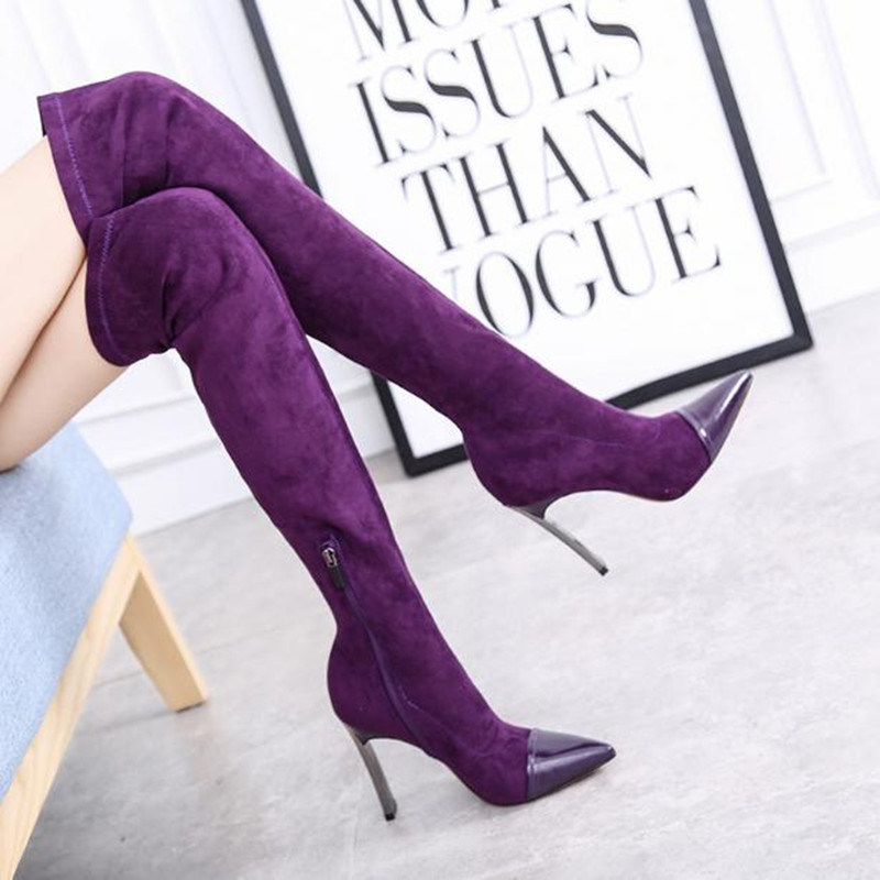 цены Autumn and winter new sexy super high heel 10cm stretch boots over the knee women's boots Pointed suede purple black Women Shoe