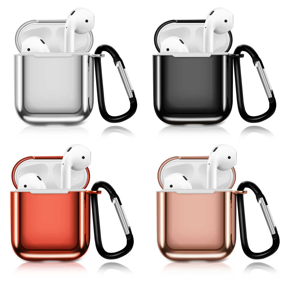 Luxury TPU Plastic Plating Hooked Protective for AirPods Case Cover Anti-fall For Earpods Charger Storage Case Accessories