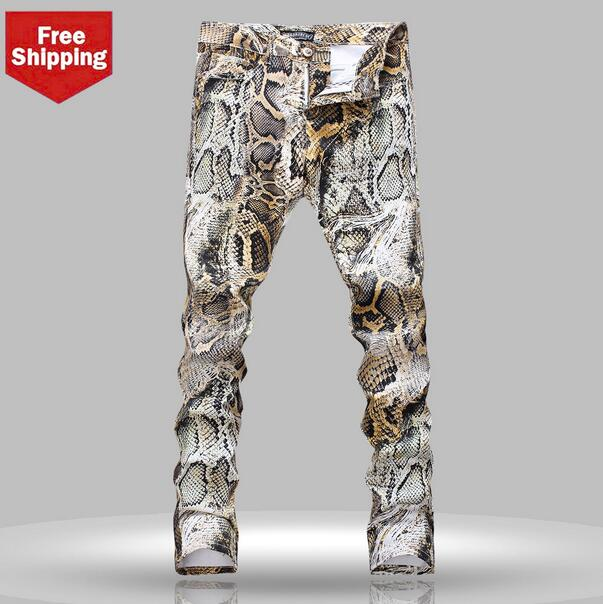 Autumn slim Serpentine printing mens jeans 1 denim trousers man straight personalized luxury brand fashion elastic