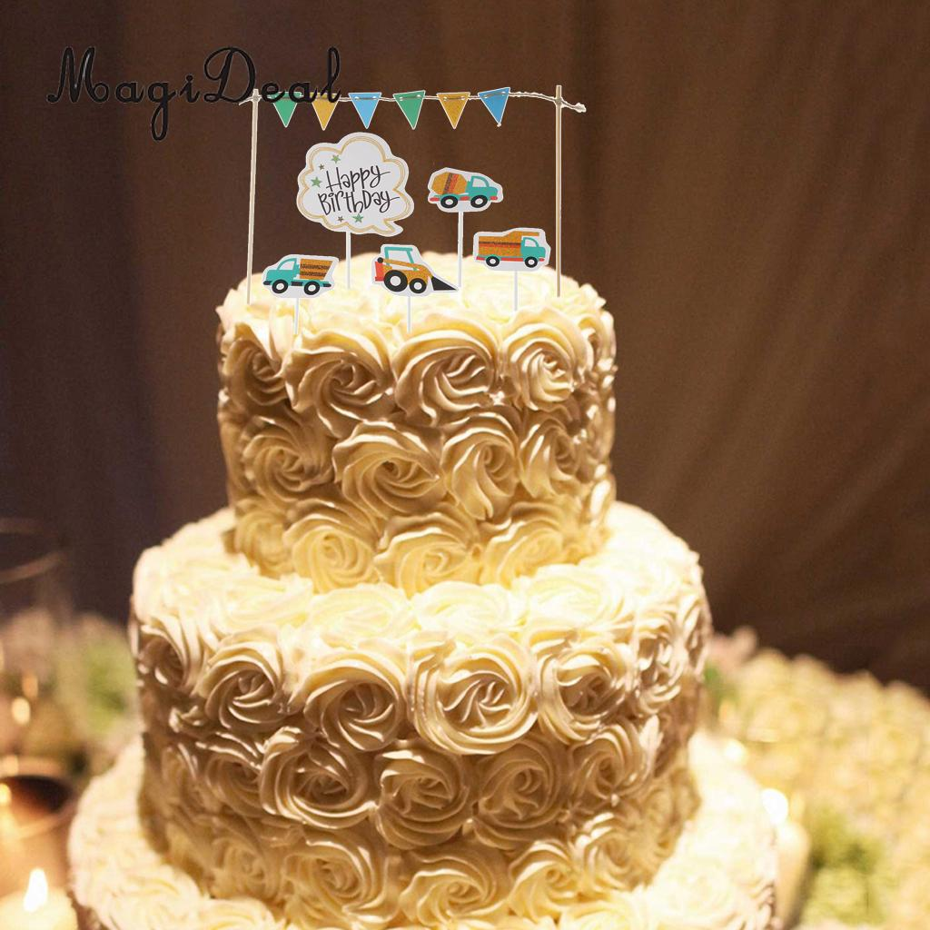 MagiDeal Lovely 7Pcs Happy Birthday Cake Topper Banner Vehicles ...