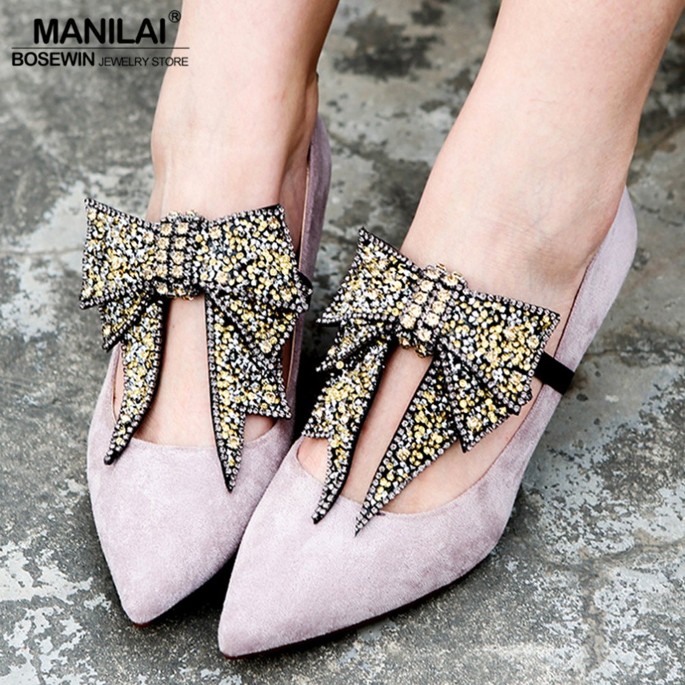 MANILAI 2 Piece/Pair Unique Design Shoes Accessories Luxury Rhinestones Bowknot Anklets For Women Foot Jewelry 2018 Bracelet pair of graceful embellished floral jewelry anklets for women