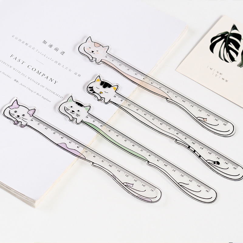 Cute Kawaii Animal Cat Rabbit Crylic Ruler Cartoon Bookmark Creative Learn Drawing Straight Rule School Stationery Supplies Gift