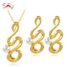 Sunny Jewelry Fashion Jewelry 2019 Simulated Pearl Jewelry Sets For Women Necklace Earrings Pendant For Party Wedding Daily Wear(China)