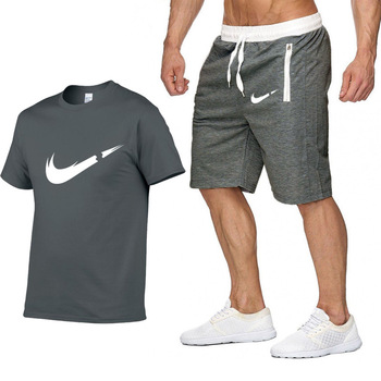 Brand Clothing Two Pieces Sets Men T-shirt