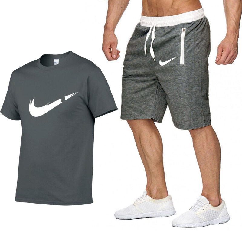 2019 New Brand Clothing Two Pieces Sets Men T-shirt Swag T-Shirt Cotton Print T Shirt Homme Fitness Camisetas Hip Hop Tees+Short