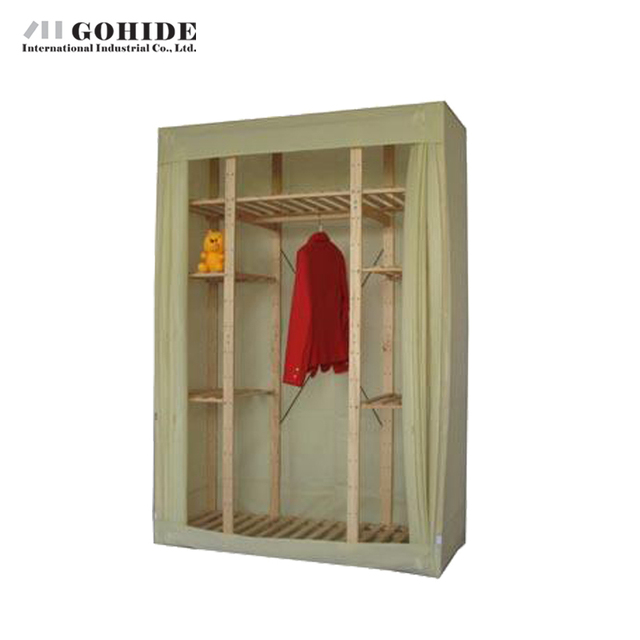 Gohide Pinewood Home 154cm Cloth Wardrobe Solid Wood Wardrobe Storage Furniture Wardrobes With Simple Lockers For Bedroom