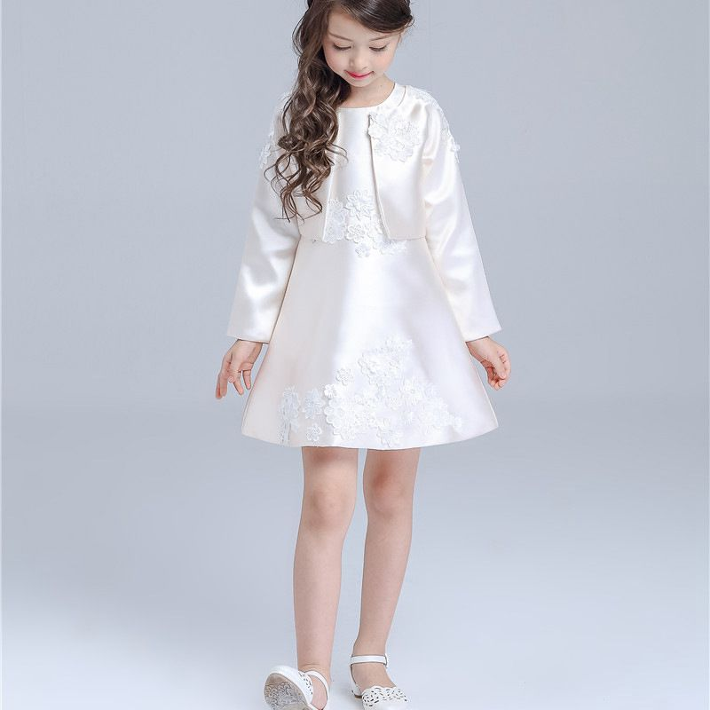 ФОТО YNB New Fashion Children Formal Clothes Girls Long Sleeve Dress Kids Pink Princess Dresses for Girls Sleeveless Dress +Coat