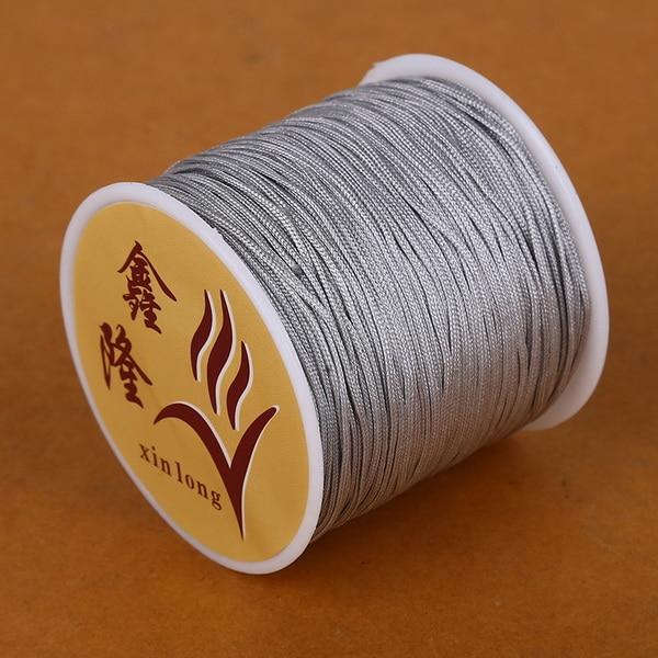 50 метров 0,8 мм нейлоновый шнур, китайский Узелок, шнур макраме, браслет, плетеный шнур, бисероплетение, сделай сам, ювелирный шнур, нить - Цвет: Sliver Gray
