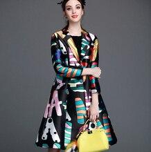 New Arrivals Women's trench Coat 2016 Brand New Fun letters printed long-sleeved windbreaker Slim waist A-Line outwear D97