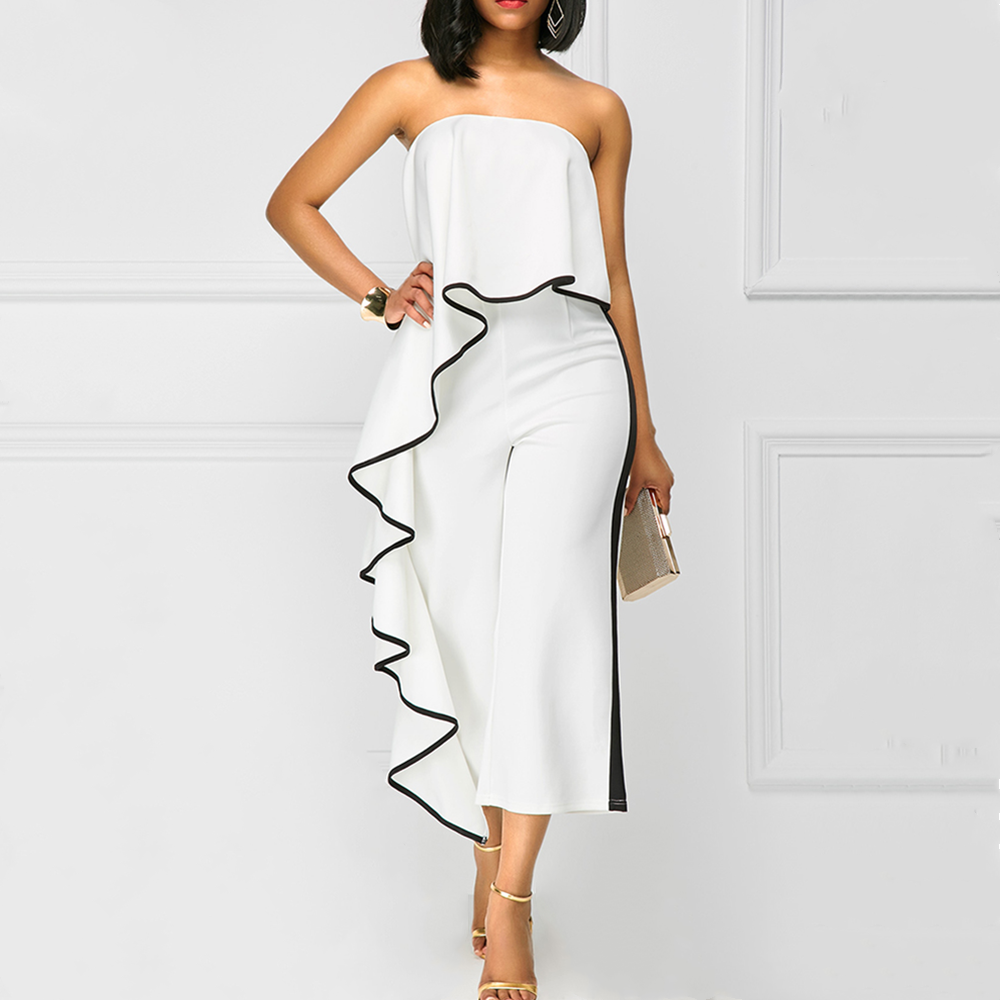 White Red Sexy Summer Women Jumpsuits Long Trousers Strapless Loose Solid Elegant Playsuits Casual Office Lady Romper Robe Femme