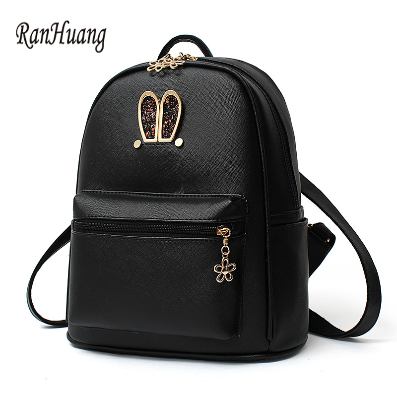 ФОТО RanHuang Rabbit Ears Cute Backpack Women PU Leather Backpack Girls Cartoon School Bags Women's Fashion Double Shoulder Bags A583