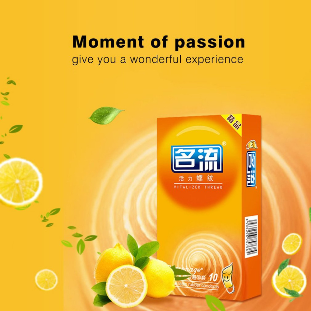 30 Pcs (3 boxes) <font><b>Natural</b></font> Latex Condoms Vitalized Thread Strong Stimulation Penis Sleeve Safe Sex Tool Lemon Flavor for Oral Sex image