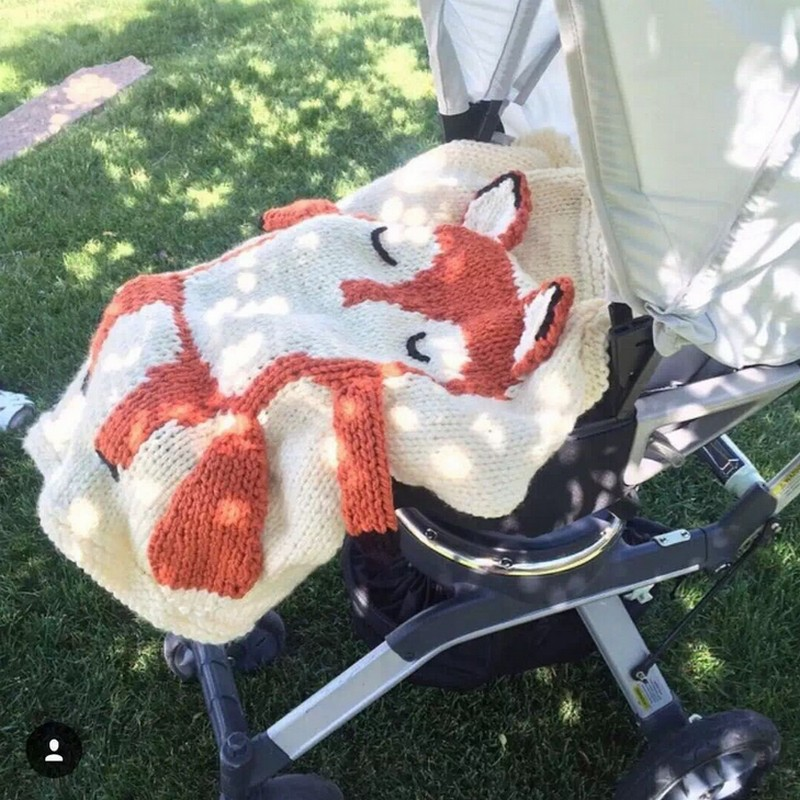 80x80cm 2017 new3D Cartoon Animal Style Handmade Blanket mouse fox Children Knitted Air Conditioning Blanket for
