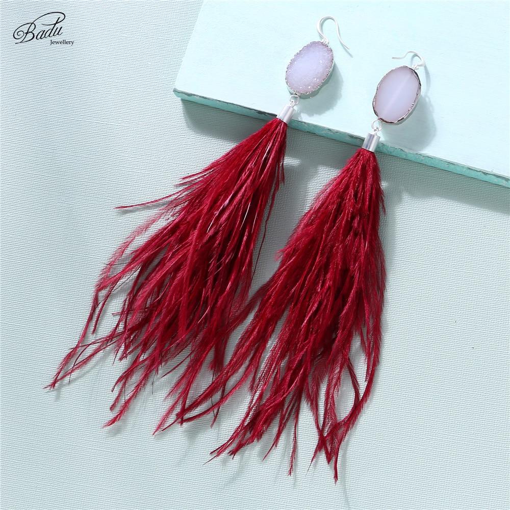 Badu Women Fashion Earring Ostrich Feather Bohemian Style Crystal Rock Earring Dangle Drop Elegance Party Jewelry Holiday in Drop Earrings from Jewelry Accessories