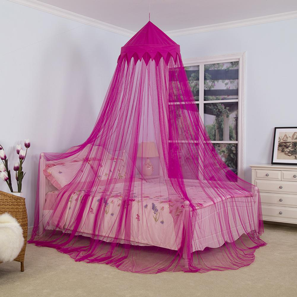 Princess Bed Canopy Girl Crown Pelmet Upholstered Awning: Baby Mosquito Net Dome Crown Bed Canopy Kids Round