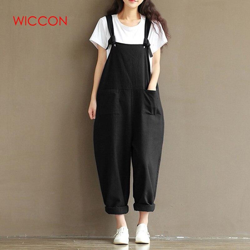 WICCON Dames Casual, loszittende katoen en linnen Jumpsuit Strap - Dameskleding