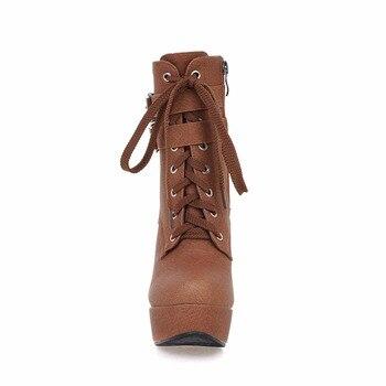 WETKISS Super Big Size 32-48 Thick High Heels Shoes Buckle Strap Lace Up Short Boots Women Shoes Platform Autumn Winter Boots 2