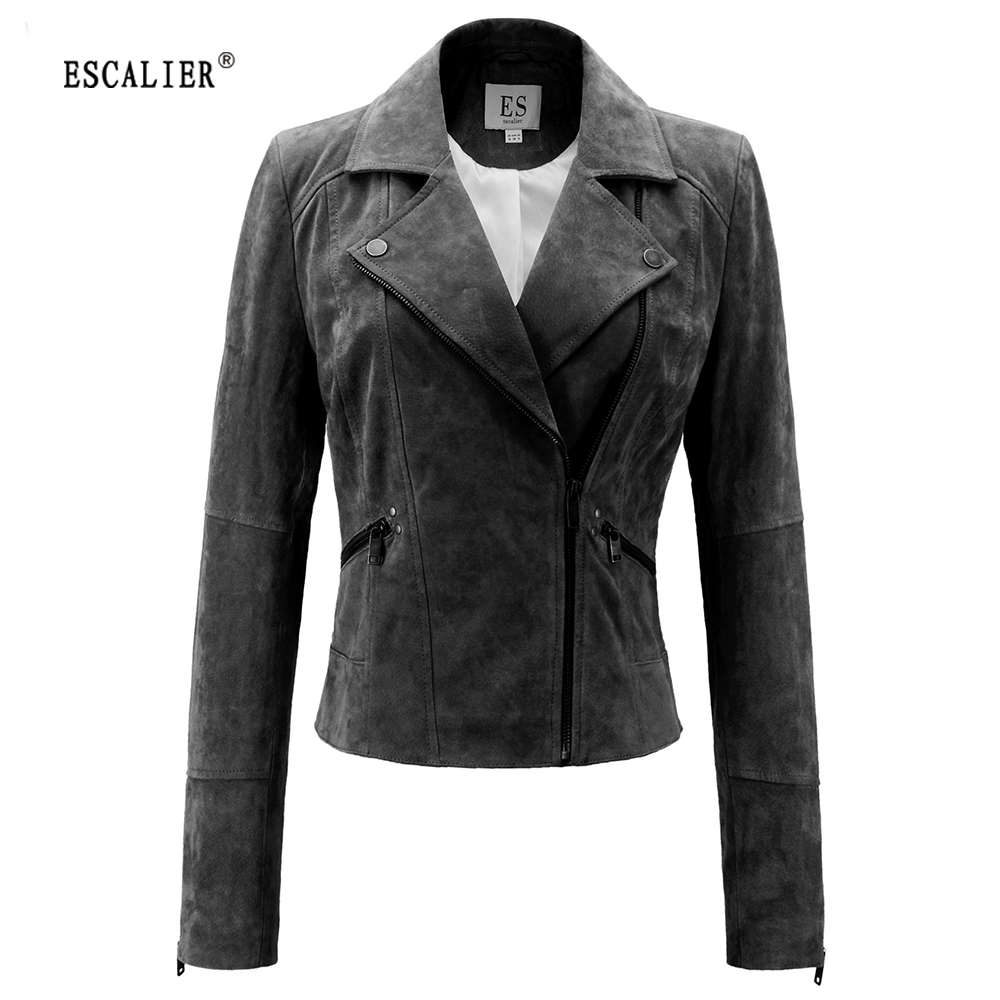Leather jacket cape town - Escalier Genuine Leather Jacket Women Real Pigskin Slim Zipper Soft Suede Real Leather Short Motorcycle Jacket