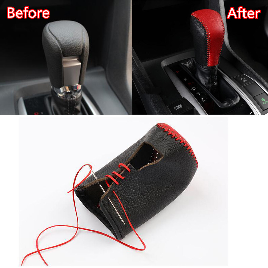 Car Interior Gear Shift Knob Frame Trim for Honda Civic 10TH GEN 2016-2018 Red