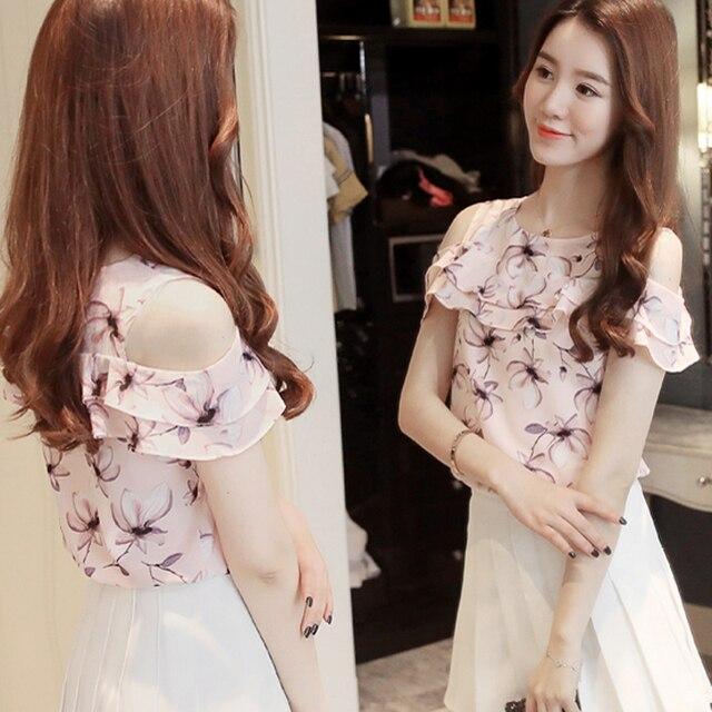 2018 Women Off Shoulder Short Sleeve Blouses Print Floral Chiffon Shirts Casual Ladies Clothing Female Blusas Women Tops 4