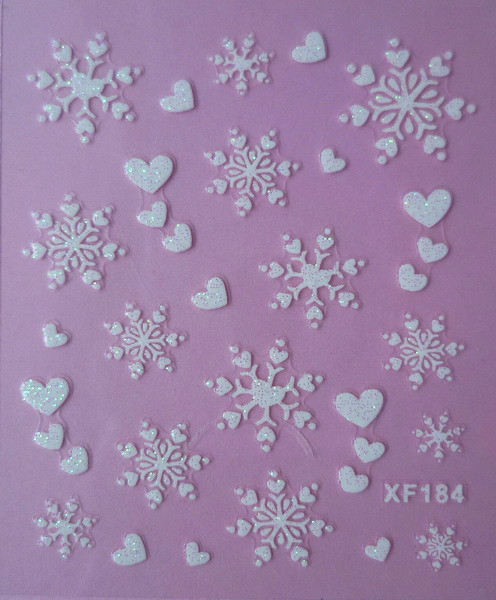 white 3D love snowflake design Water Transfer Nails Art Sticker decals lady women manicure tools Nail Wraps Decals XF184 one bottle cute white little snowflake pattern nail sticker