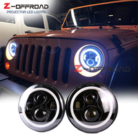 For Jeep CJ 8 Scrambler 7 LED H4 headlight replacement spot lighting with white halo ring angle eyes for Wrangler JK 2 Door