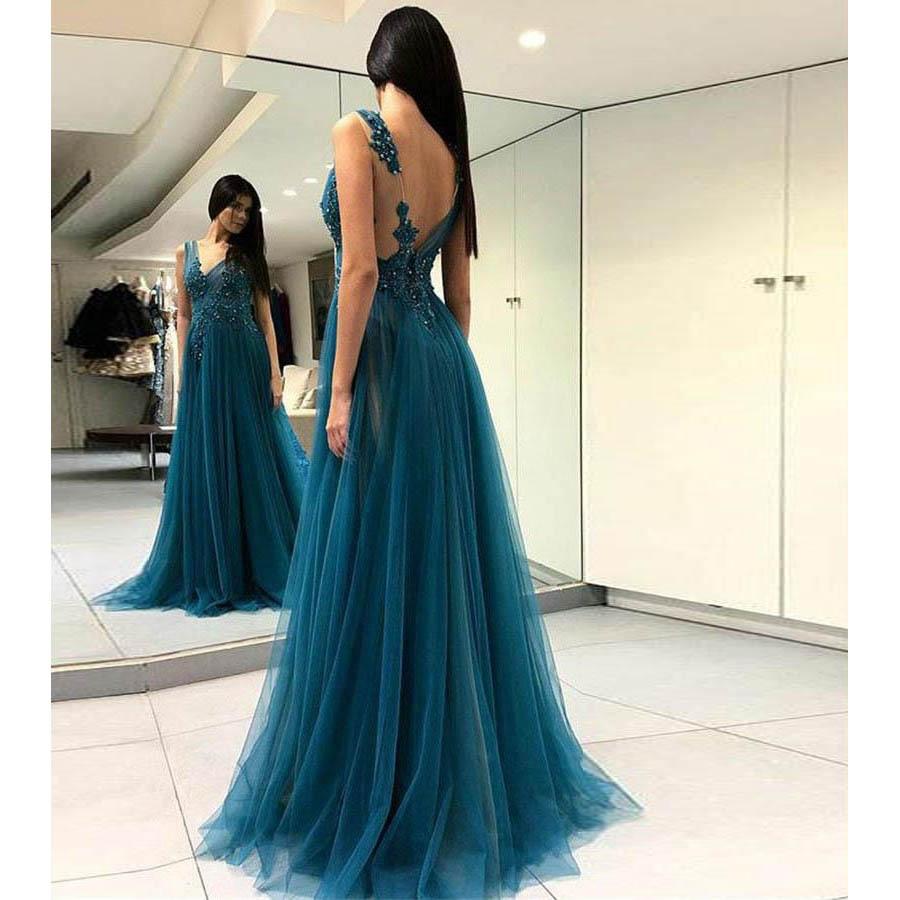 V Neck Floor Length   Prom     Dresses   A Line Sleeveless Applique Front Split Tulle Evening Formal Party   Dress   Vestido De Fiesta