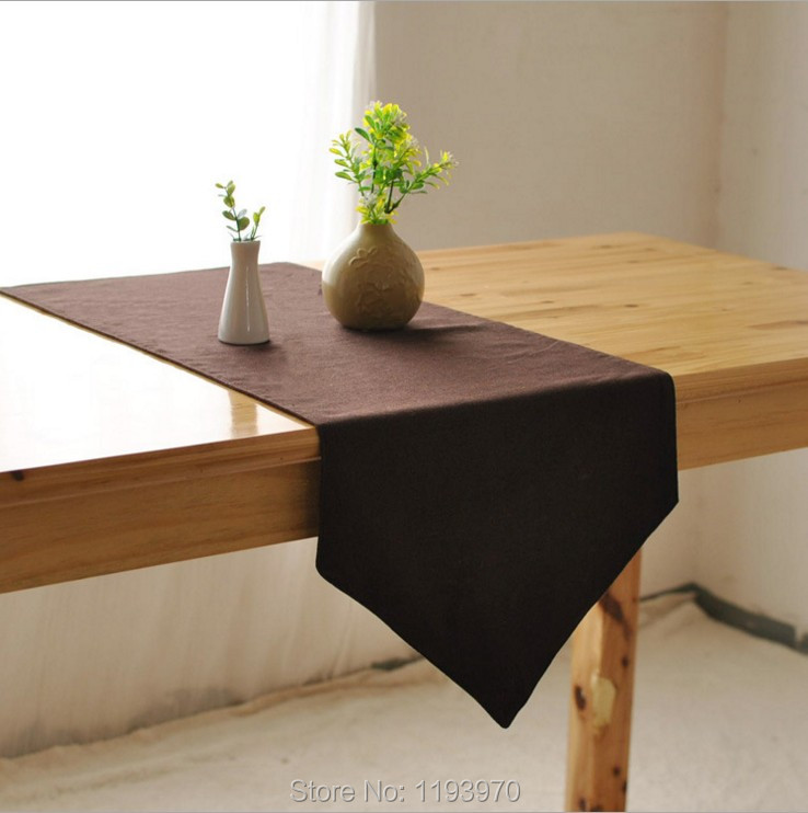 Solid Brown Color Cotton And Linen Table Runner Wedding Party Restaurant Home Table Decoration Cloth 8007ZQ