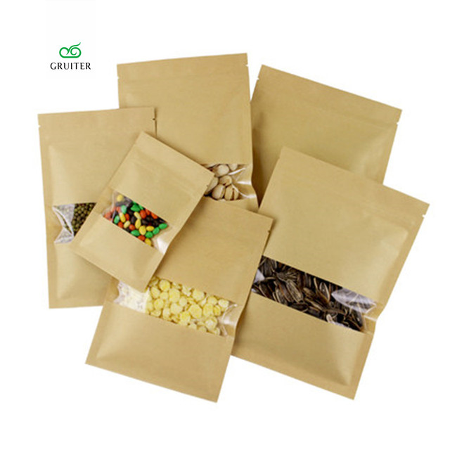 Multi-Sizes Kraft and Clear Mylar Bags Window Reclosable W/ZipLock Pouch Food Storage  sc 1 st  AliExpress.com & Multi Sizes Kraft and Clear Mylar Bags Window Reclosable W/ZipLock ...