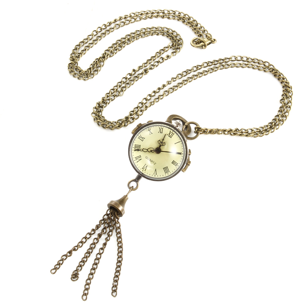 Fisheye Style White Steel Retro Quartz Necklace Pocket Watch Chain Belt   LL@17