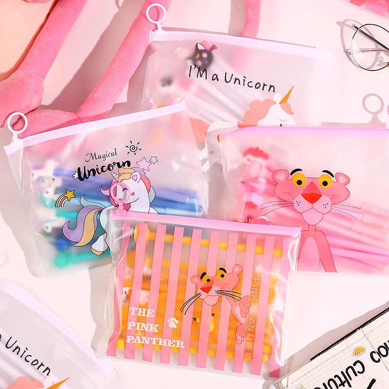Прозрачный пенал с героями мультфильмов Kawaii Розовая пантера Большой размер, для карандашей сумка для девочек детские школьные канцелярские товары канцелярские принадлежности