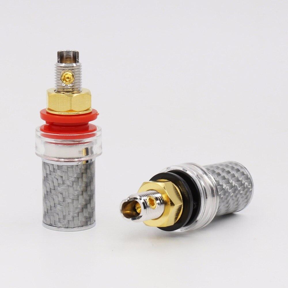 4Pc Rhodium Speaker AMP Terminal Binding Post Carbon Fiber Socket