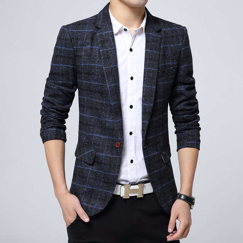 2018 Men blazers masculino mens suit mens blazer jacket Square plaid Wool blazer men Slim man coats Fashion Autumn 3XL 107