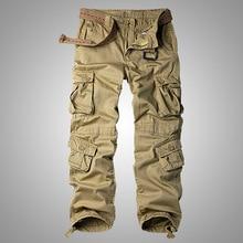 Men's Cotton Military Cargo Pants, 8 Pockets Casual Work Com