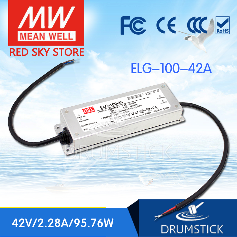 Genuine MEAN WELL ELG-100-42A 42V 2.28A meanwell ELG-100 42V 95.76W Single Output LED Driver Power Supply A type 3mean well original elg 100 c500d 210v 500ma meanwell elg 100 210v 100w single output led driver power supply d type