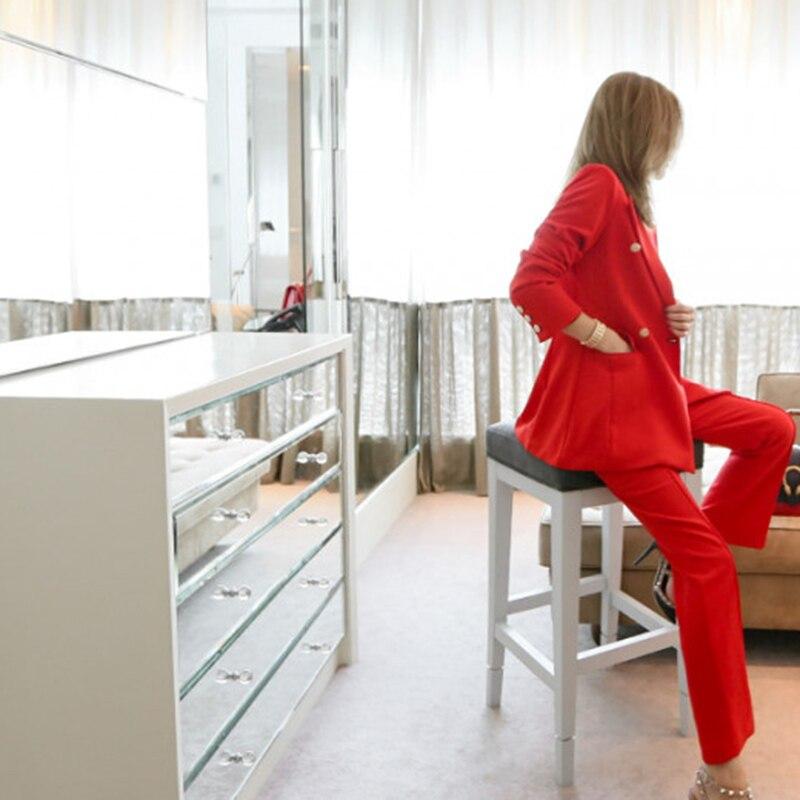 S Femme Automne Femmes Nouveau Turn Costumes Nuw149 Mode xxl 2019 Col Uni Pour Deux Costume pièce Printemps Rouge Pantalon Color down Photo 8q5xTnn