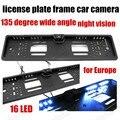 Resistente al agua 135 grados de ángulo ancho de LA UE European Car License Plate Frame Cámara de Visión Trasera Con 16 LED
