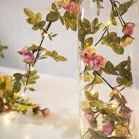 BEIAIDI 10M Christmas Copper LED Fairy String Light DIY Artificial Rose Flower Vine Leaves String Garland 220V Holiday Lighting