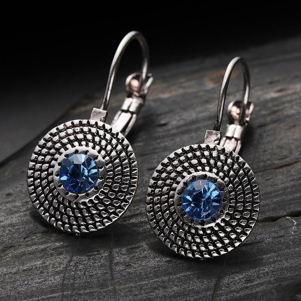 2020 Punk Round Crystal Drop Earrings Luxury Rhinestone Earring Women Vintage Style Party Jewelry Gift Crystals Dangle Earrings
