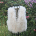 Fashion Women Winter Encryption 100% Natural Ostrich Feathers Turkey Feather Fur Vest Sleeveless Plush Coat