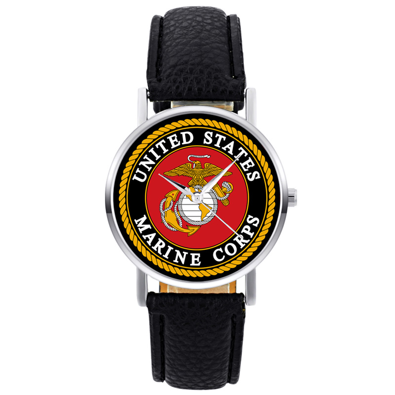 2019 New Fashion United States Marine Corps-USMC Mens Women Quartz Watch Black Leather Marine Sport Wristwatch