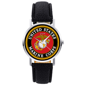 2019 New Fashion United States Marine Corps-USMC Mens Women Quartz Watch Black Leather Marine Sport Wristwatch united states military armed forces full size ribbon us merchant marine expeditionary