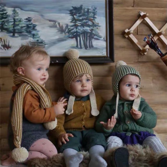 7342418d37cfd 0-4 Anos Inverno Chapéus Do Bebê Tricô De Lã Merino Tarja Pele Bola Gorro