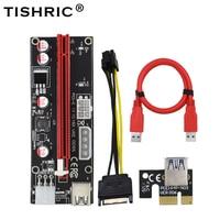 TISHRIC 10Pcs Riser Card 009S Dual 6Pin Pci-e Extender Pci Express 4Pin 6Pin Molex USB Adapter Cable M2 1x 16x For BTC Miner