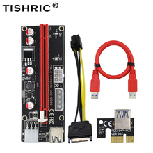 цена на TISHRIC 10Pcs Riser Card 009S Dual 6Pin Pci-e Extender Pci Express 4Pin 6Pin Molex USB Adapter Cable M2 1x 16x For BTC Miner