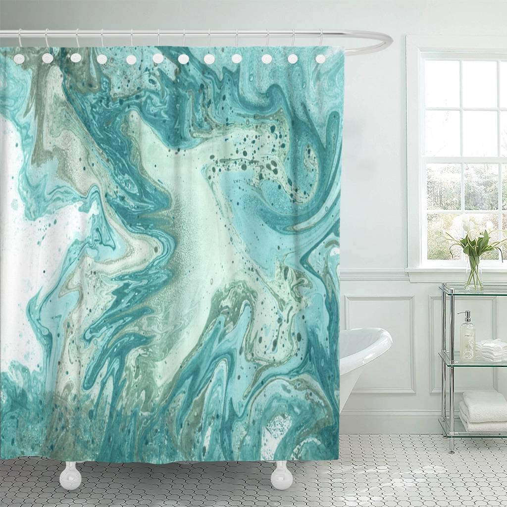 Us 17 06 36 Off Shower Curtain Hooks Blue Water Turquoise Marble Liquid Paints Contemporary Abstract Trendy Websites Decorative Bathroom In Shower