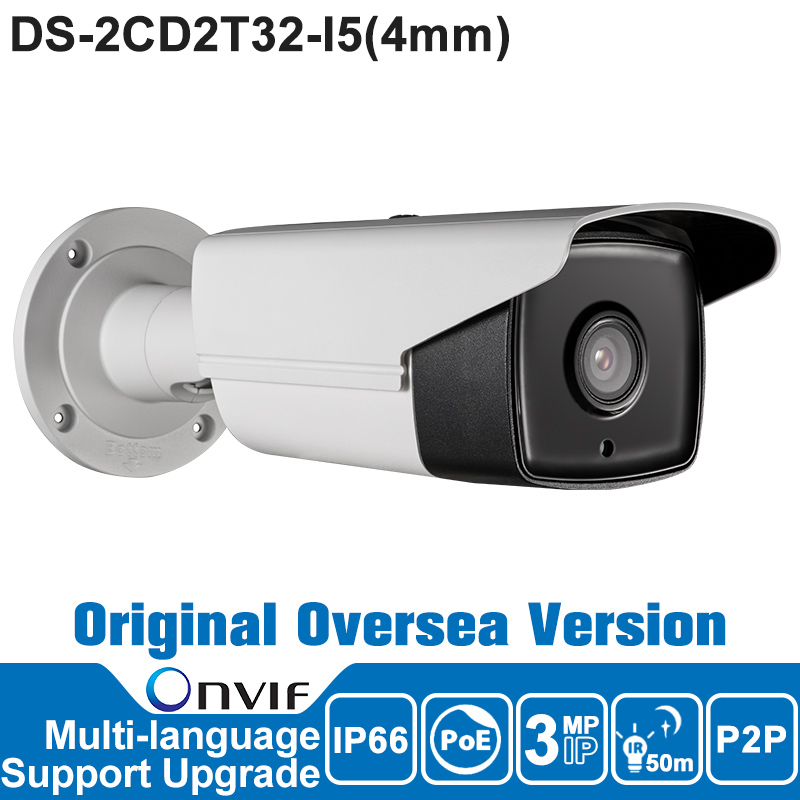 DS-2CD2T32-I5 Onvif HIK IP Camera 3MP POE Outdoor P2P Security CCTV Camera Oversea Version Night Vision H.264/MJPEG IP66 newest hik ds 2cd3345 i 1080p full hd 4mp multi language cctv camera poe ipc onvif ip camera replace ds 2cd2432wd i ds 2cd2345 i